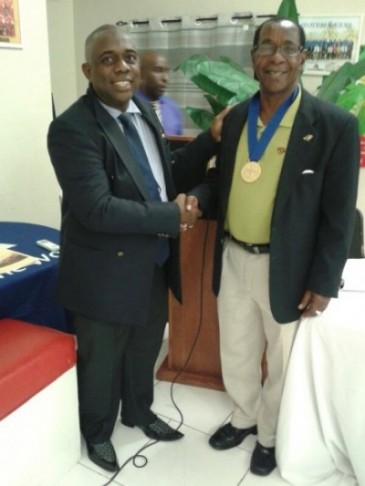 Mr. Stanley Franks honoured at SKNFA Congress for CFU's 35th Anniversary